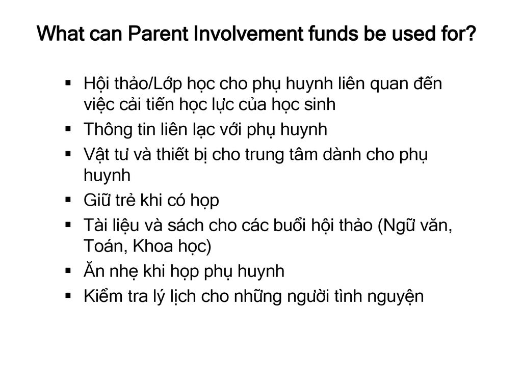 What can Parent Involvement funds be used for