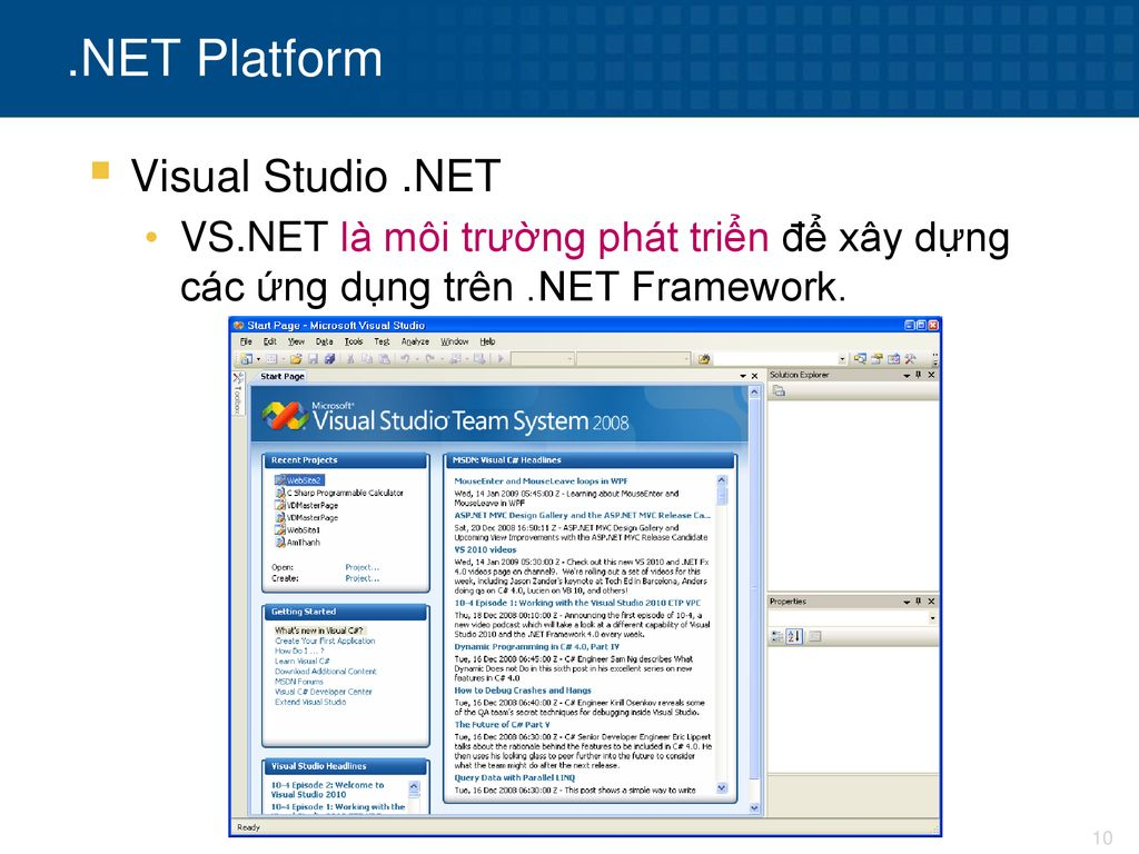 .NET Platform Visual Studio .NET