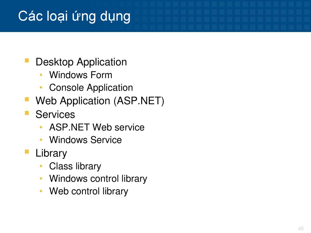 Các loại ứng dụng Desktop Application Web Application (ASP.NET)