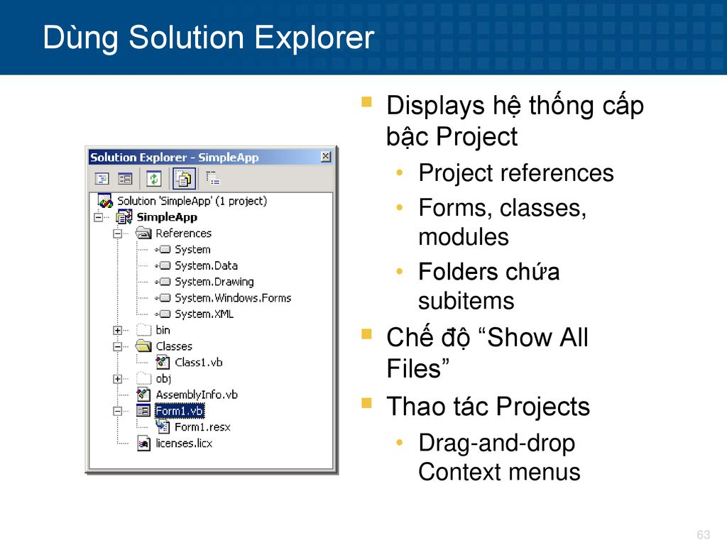 Dùng Solution Explorer