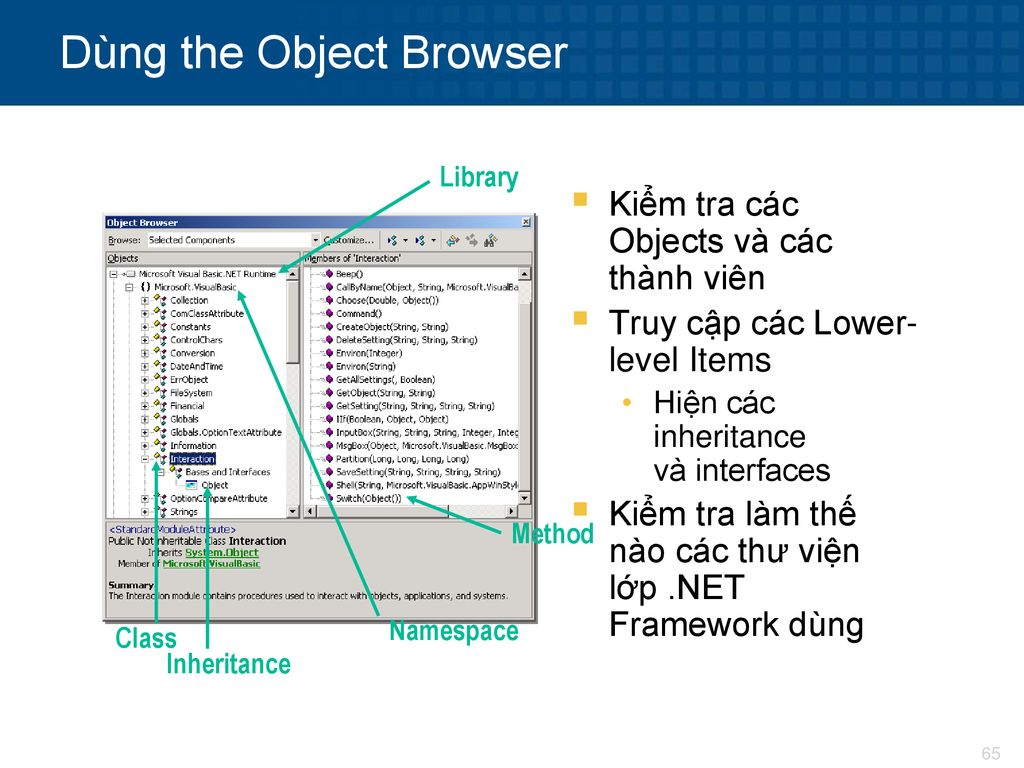Dùng the Object Browser